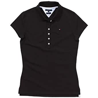 Tommy Hilfiger - Polo - Manches 1/2 - Femme - Noir (017 Masters Black) - FR : 46 (Taille fabricant : 44)