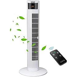 OZAVO Ventilateur Tour Télécommande, Ventilateur Colonne Silencieux Oscillation Sans Bruit Affichage LED & Minuterie - 3 Modes et 3 Vitesses - Blanc