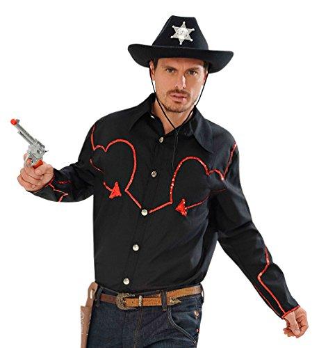 Kostüm Flanell Cowboy - Karneval-Klamotten Cowboy Kostüm Herren Cowboy-Hemd Western-Kostüm rot-schwarz Größe 50/52