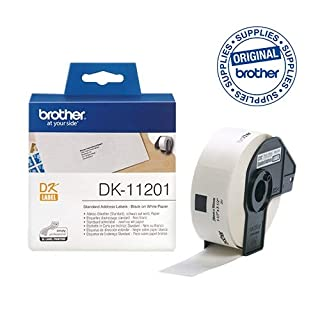 Brother DK-11201 Label Roll, Standard Address Labels, Black on White, 29 mm (W) x 90 mm (L), 400 Label Roll, Brother Genuine Supplies