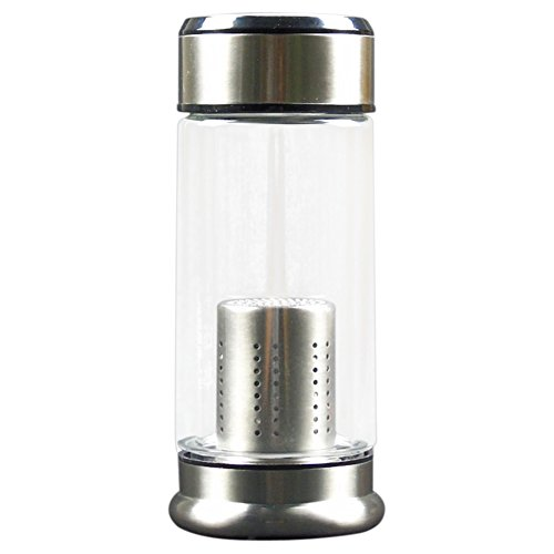 Nuovo arrivo acqua tazza di vetro della bottiglia caldaia di moda 250mL con filtro in acciaio inox tè infusore e carbone attivo FD-617-1