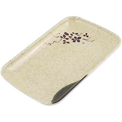 Impresión de la flor en forma de rectángulo Snack Food Plate Plato 19x12cm Bandeja de toallas