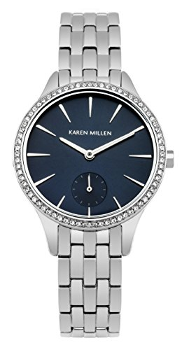Karen Millen Women's Quartz Watch with Blue Dial Analogue Display and Silver Stainless Steel Bracelet KM112USMA