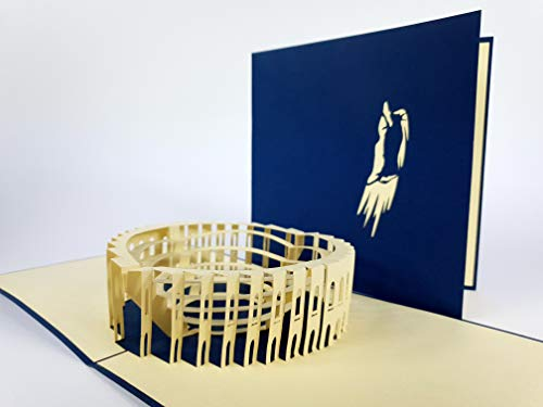 colosuem blau Version, Italien Pop Up Grußkarte Mercedes-Benz Auto Jahrestag Baby Happy Geburtstag Ostern Mutter Thank You Valentine 's Day Hochzeit Kirigami Papier Craft Postkarten (Day-karte-autos Valentines)