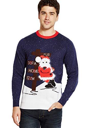 8ef0e9b31f2 Merry christmas adultes Pull Noël ivre Santa Hommes Pull tricot femmes  Festif haut - Bleu marine