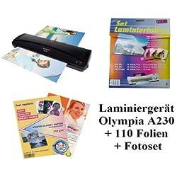 Olympia Laminiergerät A 230 Laminator Laminiergerät Farbe schwarz im neuen Design mit 100 gemischten Folien im Vorteilsset
