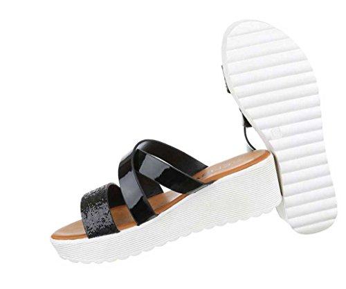 Damen Sandalen Schuhe Sandaletten Schwarz Schwarz