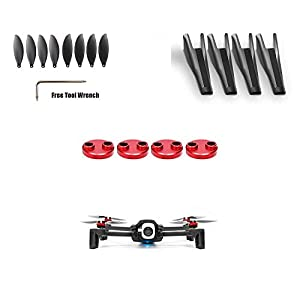 Tineer Anafi Accessory Kit-4pcs Motor Cover Protection + 8pcs Propeller +Landing Gear Leg Height Extender 3Sets for Parrot Anafi Drone Quadcopter