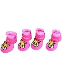 Isuper 2 Pares de Zapatos de Lluvia para Perros Lovely Conejo patrón Durable Resistente a la Nieve Boot Pet Supplies