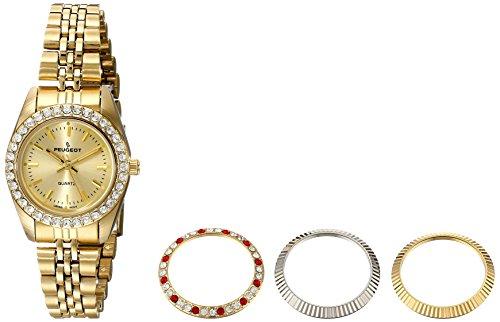 Peugeot Women's 25mm Gold-Tone Brass Bracelet & Case Quartz Analog Watch 405G
