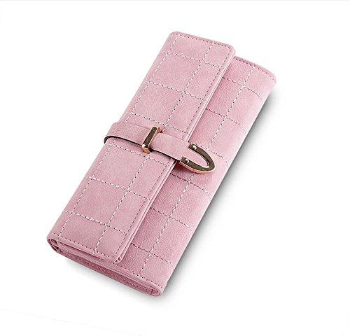 Hippolo In pelle Nubuck lunga cerniera borsa del portafoglio delle donne di modo di Lady Portafogli (Pink) Pink