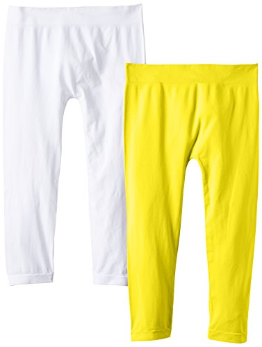 Luigi di Focenza Damen Matt Fein Legging 1712, 2er Pack, 100 DEN Gelb (gelb-weiß 137/099)