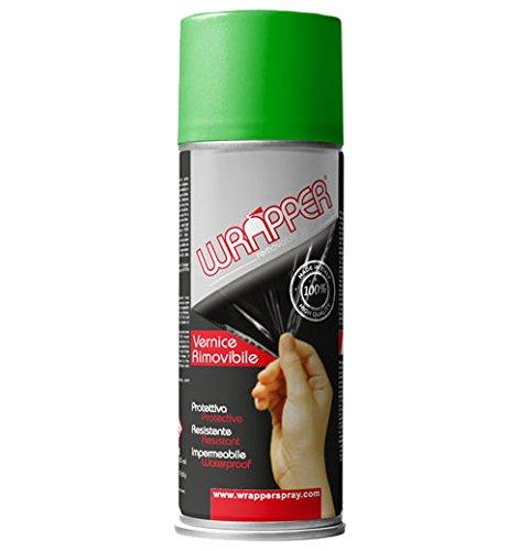 Quattroerre 16429 Wrapper Spray Vernici Rimovibili Tinta Speciale, Verde Fluo