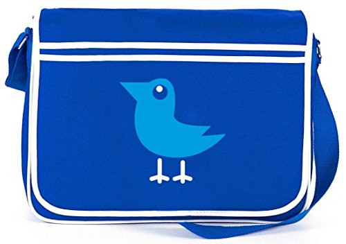 Shirtstreet24, BIRD, Vogel Natur Tier Retro Messenger Bag Kuriertasche Umhängetasche Royal Blau