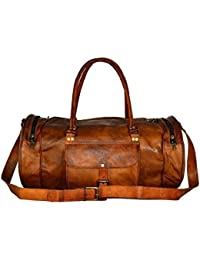 Leather Bag Vintage Genuine 24'' Round Duffle Cum Gym Bag By Znt Bag Kfd - 5033