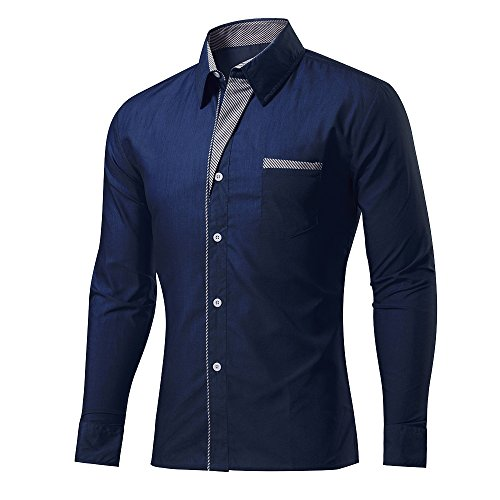 Rmine Herren Langarm Hemd Bügelleicht für Freizeit Business M-4XL (Marineblau, XXL)
