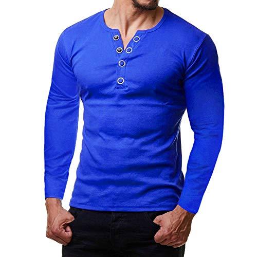 Mode Männer V-Ausschnitt Knopf Bluse Langarm Fit Pullover Shirt Solid Top Kinlene Heeren