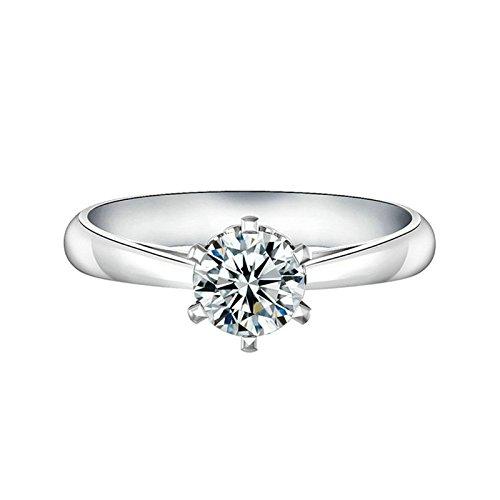 SonMo Ring 925 Silber Verlobungsring Paarringe Heiratsantrag Ring Solitär Ring Weiß Diamant Ring Damen Zirkonia Ringe Damen Größe 58 (18.5)