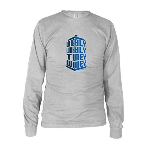 Wibbly Wobbly Timey Wimey - Herren Langarm T-Shirt, Größe: XXL, Farbe: weiß