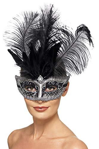 Smiffys mascherina colombina veneziana, grigio, con piume nere