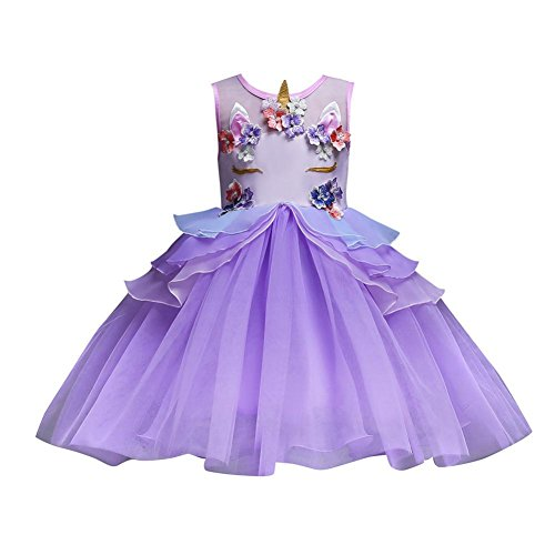 Janly® Dress, Unicorn Pattern Dresses for 0-7 Years Old Girls Bridesmaid Pageant Party Wedding Princess Dress Ball Gown
