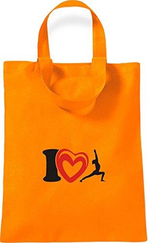 ShirtInStyle kleine Baumwolltasche I Love Yogo Joga Sport Gymnastik Farbe Rot orange