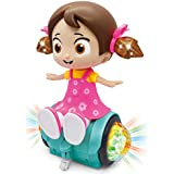 Zest 4 Toyz 360 Degree Rotating Musical Dancing Girl Doll Activity Play Center Toy with Flashing Lights and Bump and Go Action for Kids Early Learning and Educational (Assorted Colour)