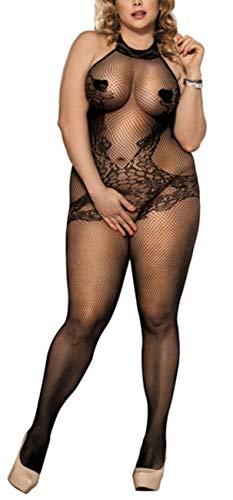 marysgift Bodystocking aus Netz - Damen Sexy Dessous - Body Catsuit, Schwarz (De3137), XL = 40 42 44 46 48 50 (Size Plus Stocking Fishnet)