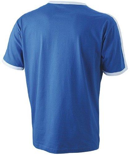 James + Nicholson kontrastfarbenes Flag T-Shirt JN 017 Multicoloured - Royal/White