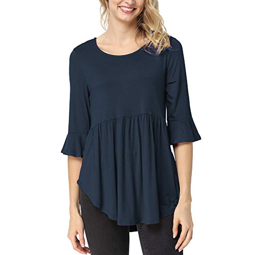 IMJONO Frauen Tops T-Shirt Bluse,2019 Jubiläumsfeier Frauen Damen T-Shirt Rüschen Kurzarm Rundhals Lässige Tops Bluse T