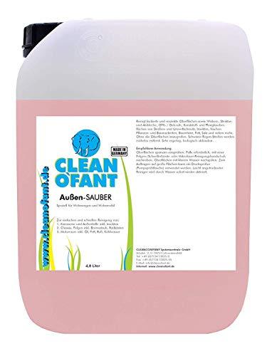 CLEANOFANT Außen-SAUBER 4,8 Liter - Spezieller Reiniger für Wohnwagen, Wohnmobil, Caravan, Vorzelt - das Shampoo vereint Außenreiniger, Insektenentferner, Felgenreiniger, Motorraumreiniger