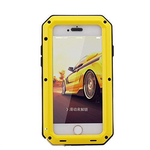 iPhone 6Plus Coque, Housse pour iPhone 6S Plus r-just étanche anti poussière et anti chocs pare-chocs [Protection intégrale anti-rayures] Camouflage étui en métal pour Apple iPhone 6Plus et iPhone 6 jaune