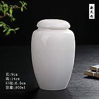 Winpavo Urn Cremation Keepsake Ashes Urns Pet Casket Cat Dog Cremation Jar Traditional Handmade White Porcelain Urn, D