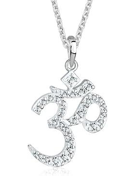 Elli Damen Halskette mit Anhänger Om Karma mit Kristallen von Swarovski 45 cm weiß 0107973013