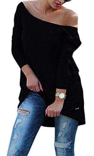 Damen Tunika Bluse Longshirt Top Ausschnitt Hinten Casual Damen Shirt S M L (301) (Schwarz)
