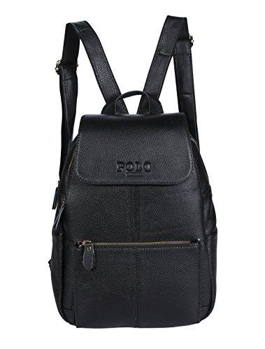 VIDENG POLO Leder Rucksack Handtasche Lässige Tagesrucksäcke Mode Schule Reise Wandern Rucksäcke für Frauen, 4 Größen, 3 Farben (schwarz-B2) (Womans Bmw Bekleidung)