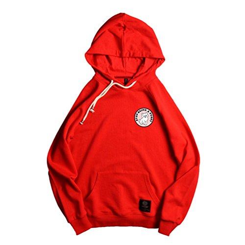 Yiiquan Unisex Stampato Arte Stampato Sciolto Pullover Tasche Maniche Lunghe Amanti Felpa con Cappuccio Rosso #2