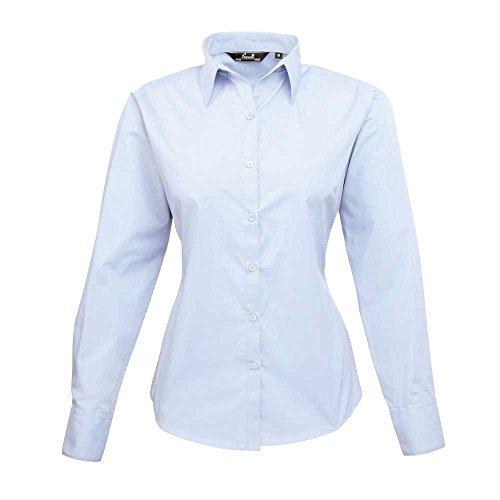 Premier Womens Poplin Long Sleeve Formal Work Blouse Shirt Light Blue