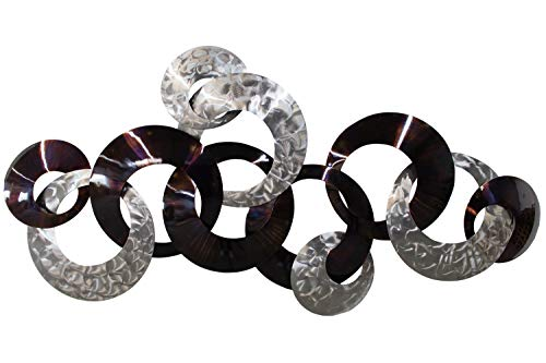 KunstLoft Extravagante Metall Wandskulptur 'Dialog der Kreise' 72x124x8cm | Design Wanddeko XXL handgefertigt Metallbild Wandrelief | Edelstahl Kreise in Silber & Braun | Wandbild modern