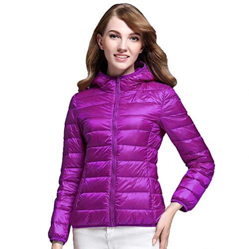 Fashionmae Ultra Light White Duck Down Jacket Women Herbst Winter Warmer Mantel Lady Übergrößen Jacken Weiblichen Hooded Parka, Lila, M (Womens Lila Winter Mantel)