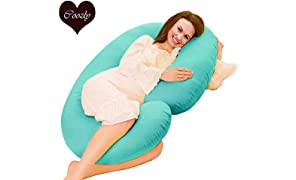 Coozly Premium Lyte C Shaped Pregnancy Pillow with 100% NEWD Cotton Stretch Detachable Cover - Cyan Blue