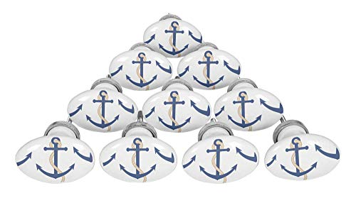 IBA Indianbeautifulart Konigsblau Ankerhaken nautisch Ziehen Keramik Schublade Türgriffe Oval Möbelknöpfe Möbelgriff -