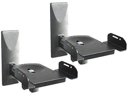 DRALL INSTRUMENTS 2 Stück (Paar) Wandhalterung für Lautsprecher Boxen - bis 12 kg belastbar - Boxenhalter für Audio Speaker - Neigbar Schwenkbar Drehbar - Wandhalter verstellbar weiß Modell: BH5x2