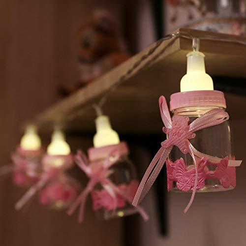 Baby Fläschchen Lichterkette, batteriebetrieben, 10 LEDs warmweiß, von Festive Lights (Baby Rosa)