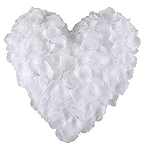 Peloo Pétalos de Rosa 3000pcs Pétalos de Rosa en Seda para Bodas Confeti Petalos Artificiales[Blanco]