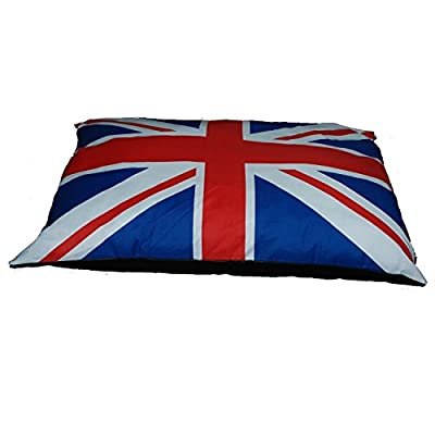CrazyGadget® Extra Large Luxury Quirky Dog Cat Pet Relax Bed Cushion Mattress Bean Bag Union Jack Pad Soft Seat Flag Design Removable Zip Cover 95cm x 70cm produced by CrazyGadget® - quick delivery from UK.