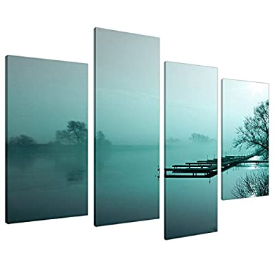 Large Teal Landscape Canvas Wall Art Pictures Set 130cm Prints XL 4118 produced by Wallfillers Canvas - quick delivery from UK.