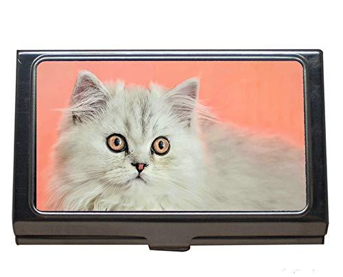 Professioneller Visitenkarten-Etui, flauschige Haustier-Tierkatze Edelstahl-Kartenhalter