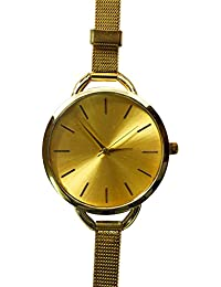 Fusine™ Big Dial Analog Watch With Silver Metal Strap Girls, Women'S Wristwatch (Gold)
