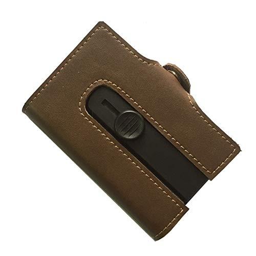 boshiho Echtleder-Schutzhülle für Kreditkarten, RFID, Slim Wallet für Männer und Frauen - Braun - Klein - Holder Wallet Slim Card